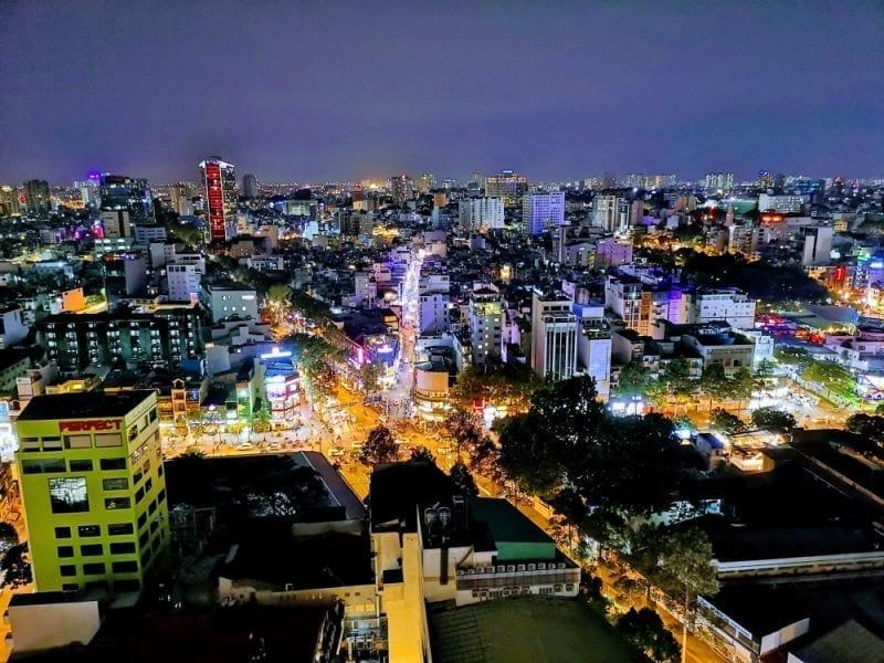 Aussicht auf Ho Chi Minh während des Remote-Work-Monat