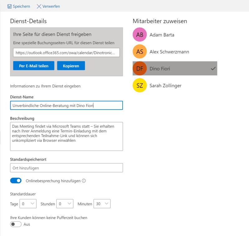 Microsoft Bookings Dienste erstellen