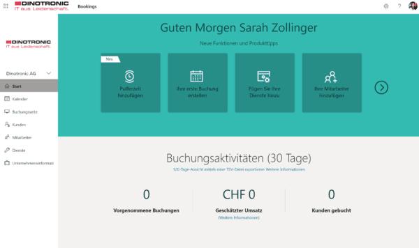 Startseite von Microsoft Bookings