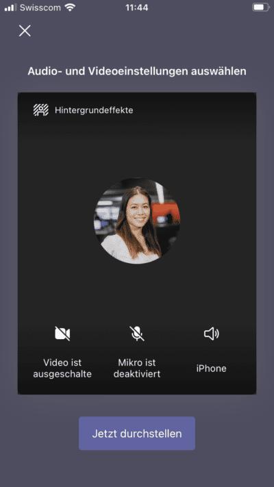 Microsoft Teams Phone Funktion Hintergrund wechseln